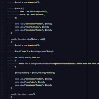 A screenshot of PHP code with CodeIgniter framework